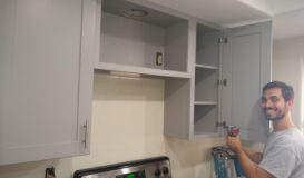 Haven Gray Cabinet install